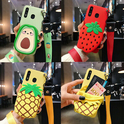 AU7.19 • Buy Cute Fruit Cartoon Wallet Hot New Lanyard Silicone Phone Case Cover For Samsung