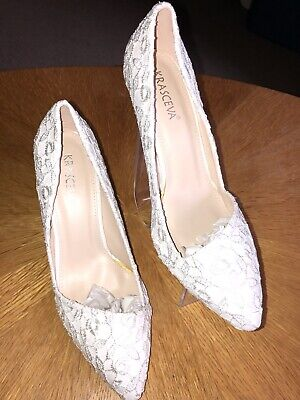 Ladies Size 7 Ivory High Heel Shoes With Sparkle Detail By Krasceva NWB Stunning • 10£
