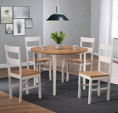 Solid White Wooden Round Table And 4 Chairs Perfect For Kitchen Dining Rooms • 134.99£