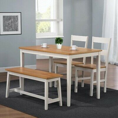 Solid White Wooden Table With 2 Chairs & Bench. Perfect For Kitchen Dining Rooms • 144.99£