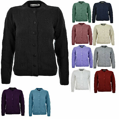 Womens Ladies Knitted Crew Neck Pocket Front Button Up Aran Cardigan UK 10-24 • 14.99£