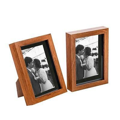 £10.99 • Buy 2x 5 X 7  3D Box Frame Photo Picture Deep Display With 4 X 6  Mount Wood/Black