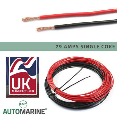 21 AMP Single Core 1.5mm² Stranded Copper Cable 12v 24v Thin Wall Wire RED BLACK • 34.50£