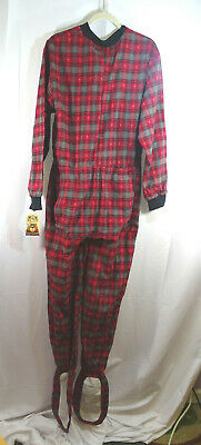 $49 • Buy New Red And Black Flannel Adult Footed Pajamas Footie Drop Seat Mens  PJs