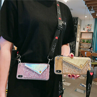 AU5.40 • Buy For OPPO Crossbody Lanyard Glitter Card Wallet Hot New Fashion Phone Case Cover