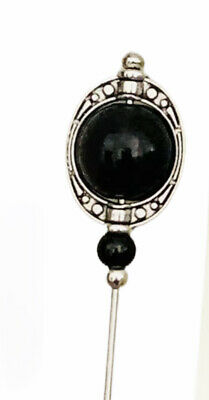 £5.49 • Buy Beautiful Onyx Hat Pin Vintage Antique Tibetan Silver Style 5  & Pin Protector