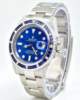 $ CDN29492.12 • Buy Rolex BOX & PAPERS Submariner Date 116610 With Custom Sapphire And Diamonds