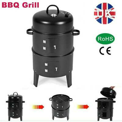 Smoker BBQ Charcoal Barbecue Grill Portable Outdoor Meat Food Garden Drum Oven • 38.99£