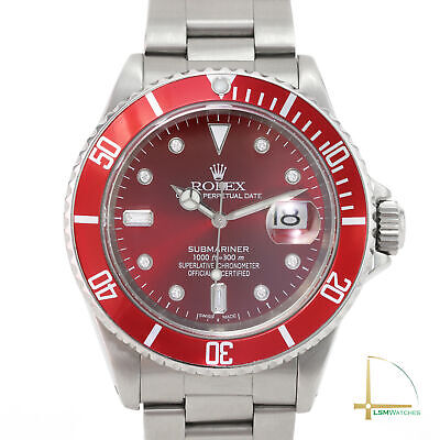 $ CDN13634.87 • Buy Rolex Submariner Watch Mens Stainless Steel Red Diamond Dial Red Insert 40mm