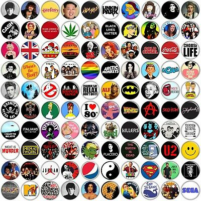 AU4.45 • Buy POP CULTURE PARTY BADGES - 35mm 1.37  Pins Buttons 80's 90's Music TV Movies