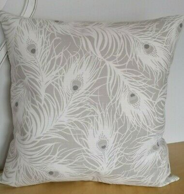 "16"" Clarke & Clarke Peacock Feather Grey  White Cushion Cover • 5.99£"