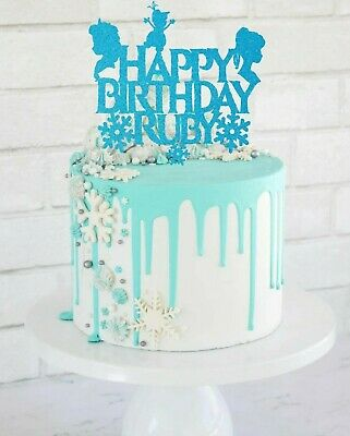 Frozen Inspired Personalised Birthday Glitter Card Cake Topper • 3.40£