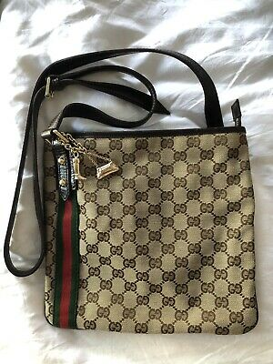 AU729 • Buy Authentic GUCCI Sherry Line Shoulder Bag GG Canvas Leather