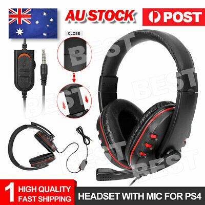 AU19.85 • Buy 3.5mm Gaming Headset Headphone With Microphone For PC Laptop Sony PS4 Xbox One