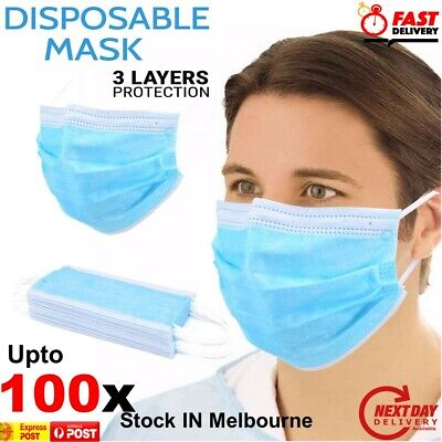 AU23.42 • Buy Face Mask Surgical Grade Disposable Masks 3 Ply Layers Filter Cover UPTO 100x