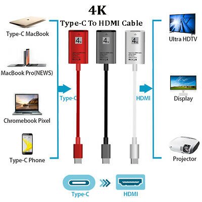 $8.49 • Buy USB-C Type-C 3.1 To HDTV HDMI TV Cable Adapter For Samsung MacBook Microsoft LG