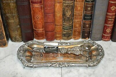 Antique Silver Plate Candle Snuffer Wick Trimmer And Tray Hallmarked • 71.68£