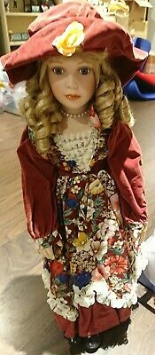 $ CDN32.88 • Buy Blonde Porcelain Doll With Hat And Red Flower Dress