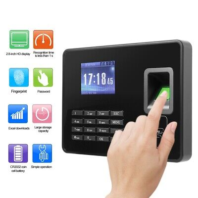 2.8in LCD Password Fingerprint Time Clock Office Employees Attendence Machine • 47.72£
