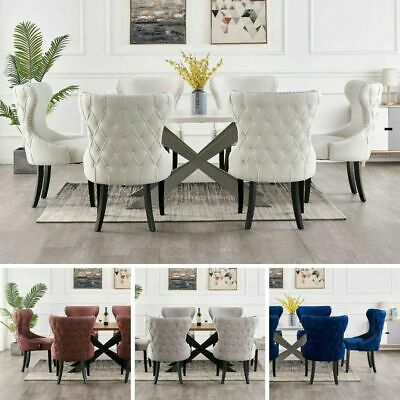 AU1790.94 • Buy Luxury White Dining Table Set Velvet Chairs Dining Table Set 4 And 6 Seater