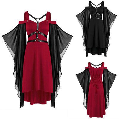 £9.99 • Buy Women Halloween Costumes Steampunk Victorian Gothic Top Lace Up Batwing Dress
