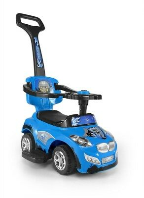 Toddler Car 3-in-1 Ride On Blue Toy Comfortable Handle For Parent Kids Play Game • 81.16£