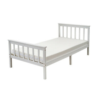 3FT Single Bed Frame Solid Wooden Slatted Bedstead In White For Kid Adult Guest • 49.99£