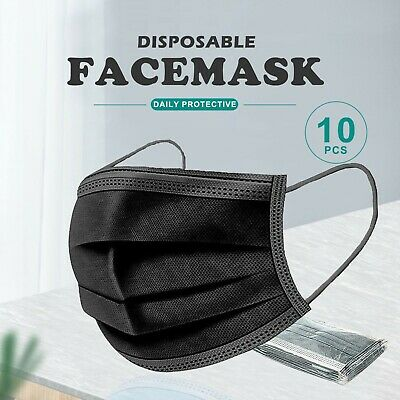 AU12.30 • Buy 10x Black / Blue Face Mask 3 Layer Ply Mouth Masks Moist Proof Filter Disposable