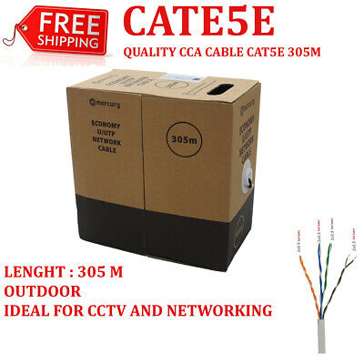 £33.99 • Buy External CAT5E UTP Outdoor Networking / Ethernet Cable, Solid CCA , 305m, Black