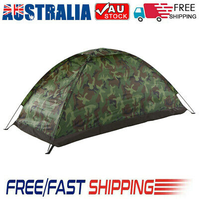 AU30.25 • Buy Camping Tent For 1 Person Single Layer Outdoor Camouflage Travel Beach Tent