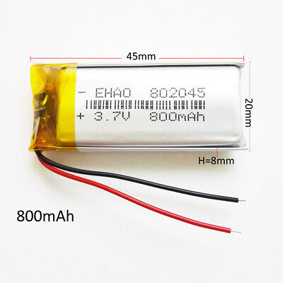 £6.80 • Buy 800mAh 3.7V Lipo Polymer Rechargeable Battery For MP3 GPS LED Light Watch 802045