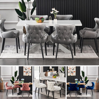 AU752.99 • Buy Luxury White Dining Table Set Velvet Chairs Dining Table Set 4 And 6 Seater