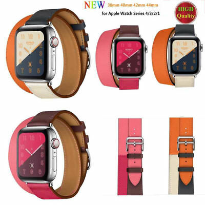AU16.99 • Buy Leather Watch Band Herme Belt Single/Double Tour For Apple Watch Series 5/4/3/2