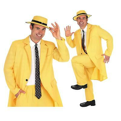 Mens Yellow Gangster Suit Costume The Mask Adult Fancy Dress Outfit • 24.99£