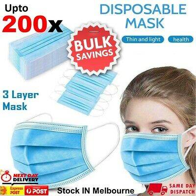 AU35.95 • Buy UPTO 200pcs Face Mask Surgical Grade FaceMask Disposable Masks 3 Layers Filter