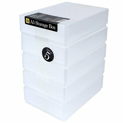 Clear Plastic A5 Paper Storage Boxes (5Pk) • 14.99£