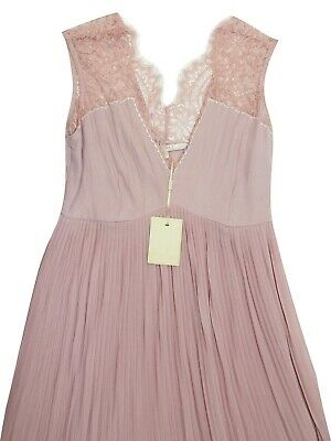 £20 • Buy Absolutely Stunning Designer 'Nougat' Nude Pleated Lace Dress Size 8,10,12,14,16