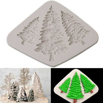 CHRISTMAS TREE Silicone Fondant Cake Topper Mold Chocolate Baking Decor Mould 3D • 3.25£