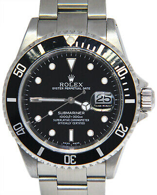 $ CDN11752.76 • Buy Rolex Submariner Date Steel Black Dial/Bezel Mens 40mm Watch Box/Papers K 16610