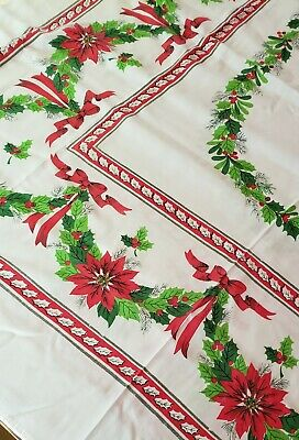 $ CDN17.59 • Buy Vintage Christmas Tablecloth Holly Bows And Poinsettia Flowers &  Leaves 50 X 66