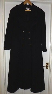 PLANET Size 16 Black Wool Victorian Style Riding Military Gothic Long Coat • 120£
