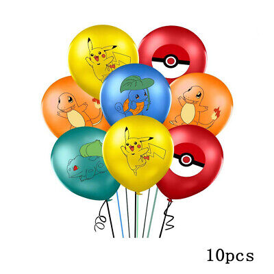 10 X Pokemon, Multi Character Printed Latex Party Balloons 12  Birthday Party UK • 4.29£