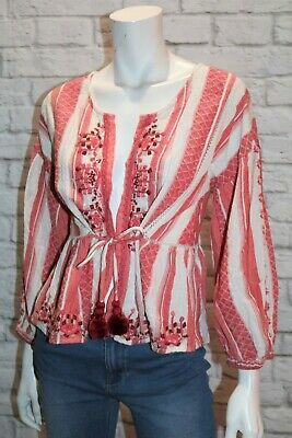 AU30 • Buy Bershka Brand Red White Embroidered Long Sleeve Tie Front Top Size M BNWT #TI04