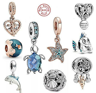Sea Life Love Ocean Blue Crystal Collection 925 Sterling Silver Bracelet Charms • 9.90£