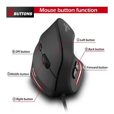 AU25.17 • Buy T-20 Ergonomic Wired Vertical Mouse Rechargeable 4 3200 DPI Gaming Mouse
