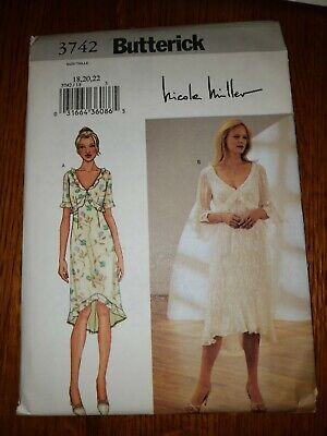 Butterick #3742-ladies Pretty  Nicole Miller  High - Low Dress Pattern  18-22 Ff • 4.71£