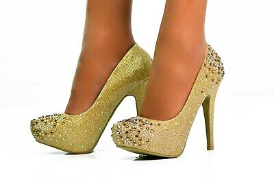 Ladies Sparkly High Heels Diamante Evening Shoes Womens Court Pumps GOLD Size 5 • 9.99£