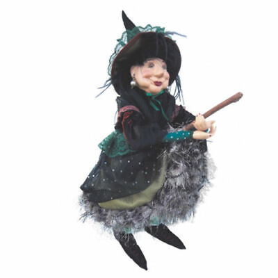 Witches Of Pendle - Elizabeth Device Witch Flying (Green) 45cm Wicca Ornament • 39.95£