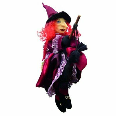 Witches Of Pendle - Lucinda Witch Flying (Burgundy) 45cm Ornament Gift Collect • 29.95£