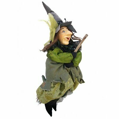 Witches Of Pendle - Tizzy Witch Flying (Green) 35cm Ornament Gift Halloween New • 25.95£